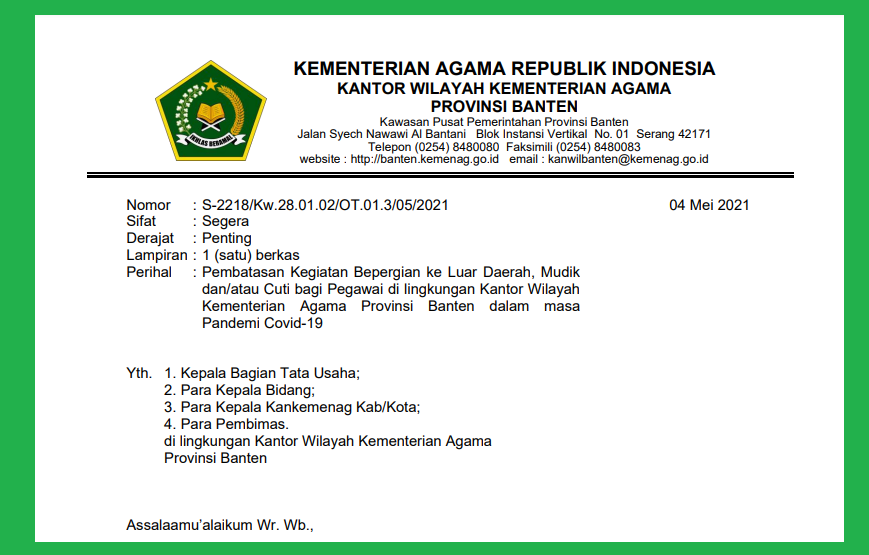 Unduh Surat Edaran Pembatasan Kegiatan Bepergian ke Luar Daerah, Mudik, Cuti Bagi ASN Kemenag Banten
